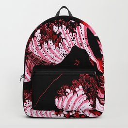 The Great Wave : Red & Black Backpack