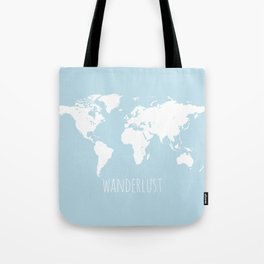 World Map - Wanderlust Quote - Modern Travel Map in Light Blue With White Countries Tote Bag
