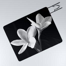 White Flowers Black Background Picnic Blanket
