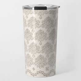"Damask ""Cafe au Lait"" Chenille with Lacy Edge Travel Mug"