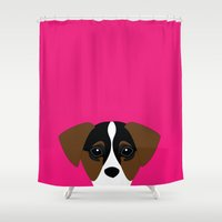 jack russell Shower Curtains featuring jack russell I love you  by styLOVEobrazy