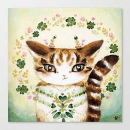 Poe: Heart of my Heart, St. Paddy's Day Cat, lucky charm Canvas Print