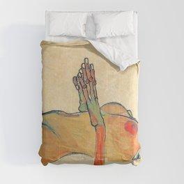 Egon Schiele - Orange knuckles and nipples (new color edit) Comforters