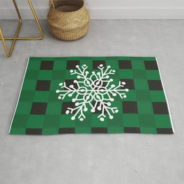 Happy Winter White Snowflake Merry Christmas With Green Plaid Rug