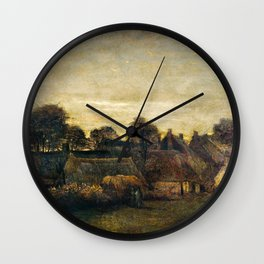 Vincent Van Gogh - Farming Village at Twilight Wall Clock