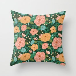 Painted Florals on Green Throw Pillow