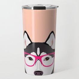 Kamri - Siberian Husky with Pink Hipster Glasses, Cute Retro Dog, Dog, Husky with Glasses, Funny Dog Travel Mug