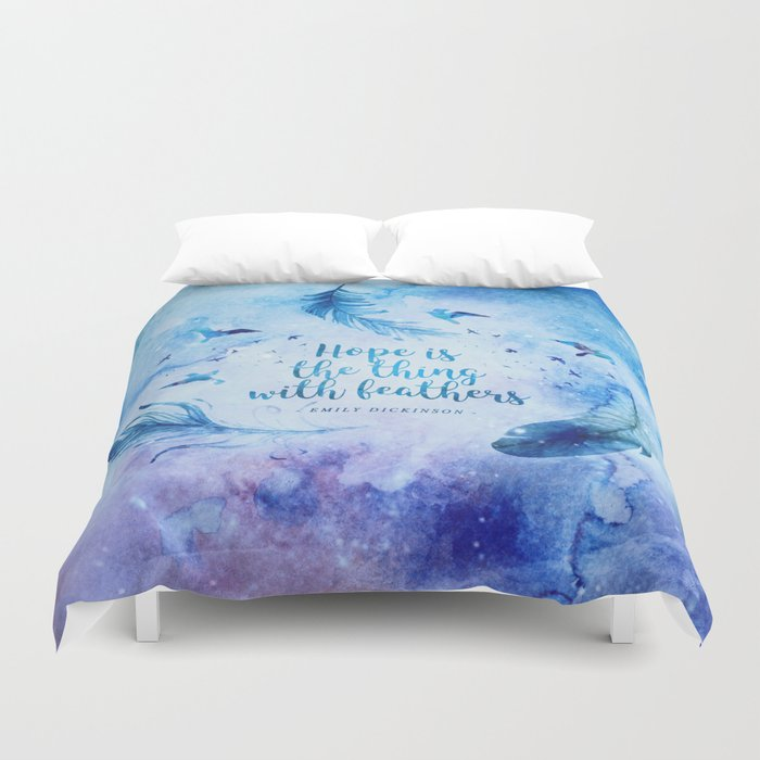 Hope is the thing with feathers Duvet Cover