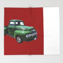 Green 1951 Ford F-1 Pickup Truck  Throw Blanket