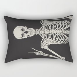 1 Mystic of 94 Magical Mystical Gothic Human Skeleton Giving The Peace Sign Bones Black & White Rectangular Pillow