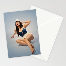 """Hey, Sailor!"" - The Playful Pinup - Nautical Sailor Girl Pin-up by Maxwell H. Johnson Stationery Cards"