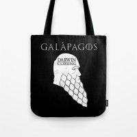 darwin Tote Bags featuring Darwin is Coming by JVZ Designs