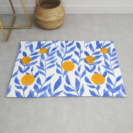 Tropical Lemons / Blue and Yellow Refreshing Lemon Print / Abstract Lemon Vibes / Summer Lemons Rug