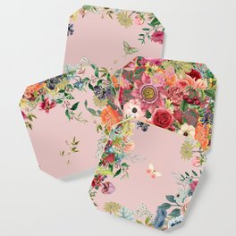 Vintage shell pink bouquet Coaster