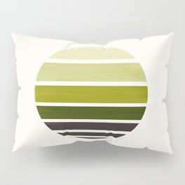 Olive Green Mid Century Modern Minimalist Circle Round Photo Staggered Sunset Geometric Stripe Desig Pillow Sham