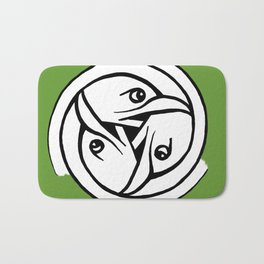 Celtic Art - Bird Head Triskele - on Green Bath Mat