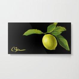 Lemon on Black DP150415a Metal Print