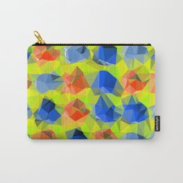 geometric polygon abstract pattern in yellow blue orange Carry-All Pouch