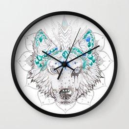 Baïkal, mandala-wolf Wall Clock