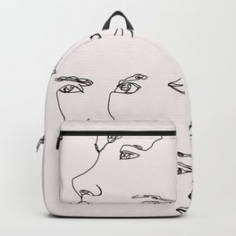 Faces one line illustration - Cyra Natural Backpack