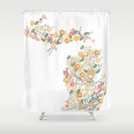 Beauty in Michigan (white) Shower Curtain