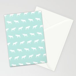 Moose pattern minimal nursery basic mint and white camping cabin chalet decor Stationery Cards