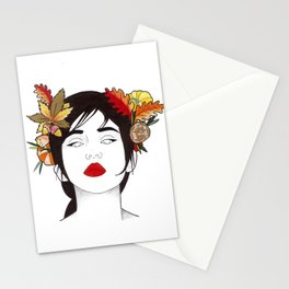 Autumn woman  Stationery Cards