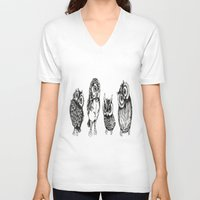 owls V-neck T-shirts featuring OWLS by Acus