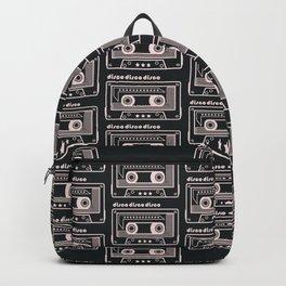 Black and White Disco Music Cassette Backpack