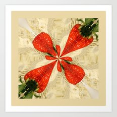 Strawberries square Art Print