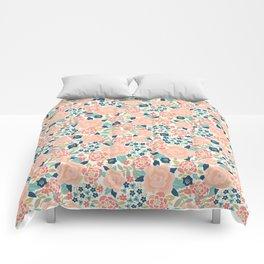 Pretty Floral Peach Comforters