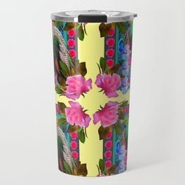PINK ROSES & GREEN PEACOCK YELLOW GARDEN FLORAL ABSTRACT Travel Mug