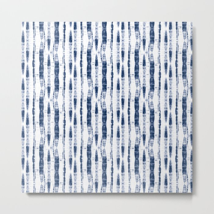 Shibori Stripes 2 Indigo Blue Metal Print