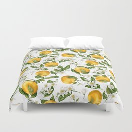 Citrus OrangeTree Branches with Flowers and Fruits Duvet Cover