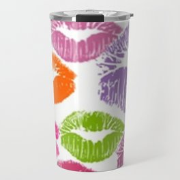 Colorful Lipstick Kisses Lip Color Travel Mug