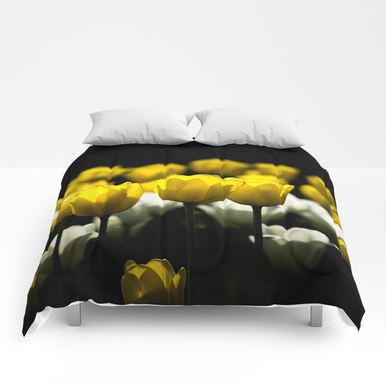 Tulips Yellow And White Comforters