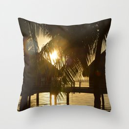 Tahitian Bungalow Sunset Throw Pillow