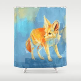 Sound of the Desert - Fennec Fox digital painting Shower Curtain