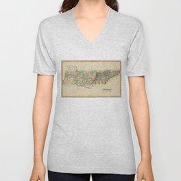 Vintage Map of Tennessee (1822) Unisex V-Neck