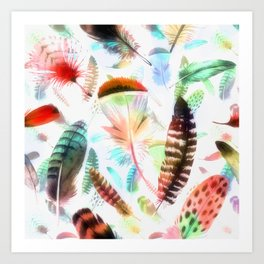 Colourful Feather Seamless Pattern On White Art Print