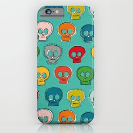 sew skully turquoise iPhone Case
