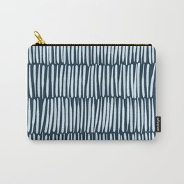 Inspired by Nature | Organic Line Texture Dark Blue Elegant Minimal Simple Carry-All Pouch