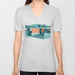 Southwestern Architecture Illustration Unisex V-Neck