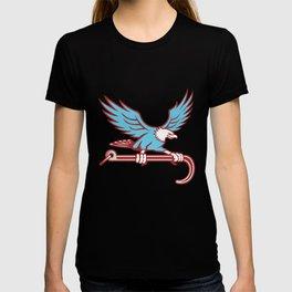 Bald Eagle Clutching Towing J Hook Retro T-shirt