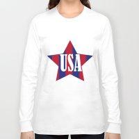 usa Long Sleeve T-shirts featuring USA by Caio Trindade