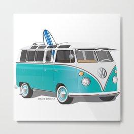 VW Bus Hippie or VW Hippie Van with Surfboard Teal Metal Print