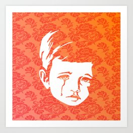 Faces - crying gypsy boy on a red and orange floral background Art Print