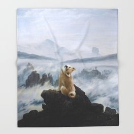 The Wanderer Above the Sea of Doge Throw Blanket