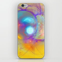 Planetary creation in yellow space iPhone Skin