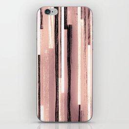 Black Old rose Pastel Stripes iPhone Skin